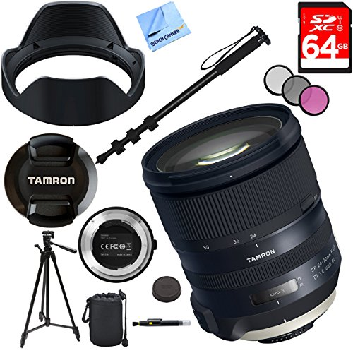 Tamron SP 24-70mm f/2.8 Di VC USD G2 Lens for Nikon Mount with TAP-IN Console Plus 64GB Accessories Kit by Beach Camera