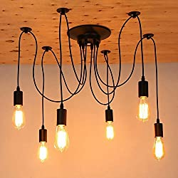 Vintage Industrial Hanging Chandelier Lighting Edison Light Bulb Lamp 110V/60W/E26 Spider Ceiling Pendant Bulbs 6 8 10 12 14 Heads for Dining Room Coffee Shop Theme Restaurant Hall (6 Arms)