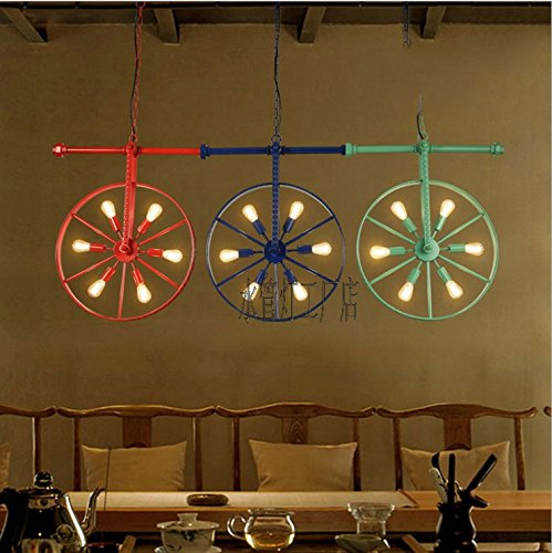 BGmdjcf Loft Retro Industrial Wind American Restaurant Cafe Bar Creative Personality Wheel Firewheel Color Chandeliers , - Firewheel Shops