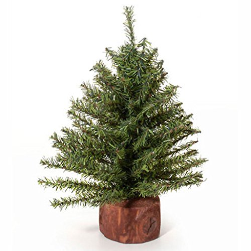 """Artificial Ornaments (Darice Mini Mixed Pine Tree with Wood Base (1pc), Green – Spread Holiday Décor Around Your Home – Artificial Tree Has 144 Tips and Works Great with Mini Ornaments and Lights, 15"""")"""
