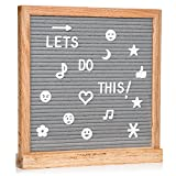 Gray Felt Letter Board with 696 Letters, Numbers & Symbols 10x10 inches :: Changeable Letter Board for Quotes, Messages, Displays & More :: Hangs Or Stands Alone:: Includes Bonus Storage Bags