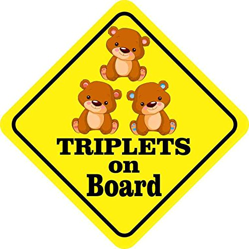 StickerTalk 5x5 Two Girls One Boy Triplets on Board Magnet Car Truck Vehicle Magnetic Sign