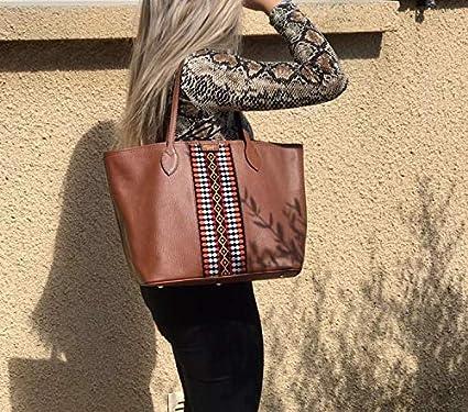 | Hochwertige Damen Lederhandtasche Handtasche Schultertasche Shopper Tote Ledertasche SOLTAKO Elyssa braun Pochette handgefertigte Tasche aus echtem Rindsleder mit modischem Canvas Set inkl