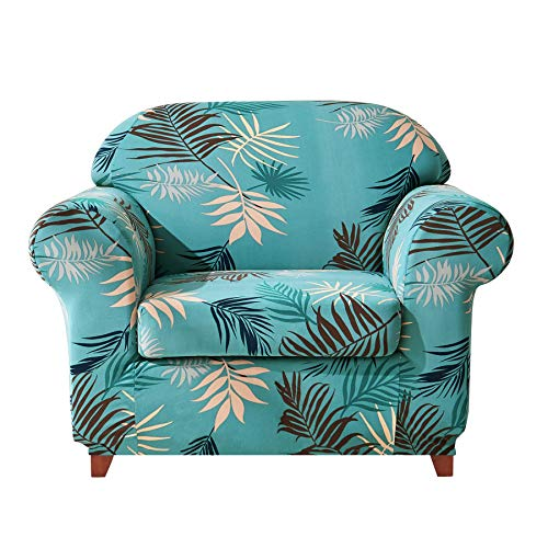 (Subrtex 2-Piece Leaves Printed Stretch Sofa Slipcovers - Protective Colorful Slipcovers for Chair, Loveseat and Sofa - Couch Protector Elastic, Durable and Resistant (Chair, Aqua)