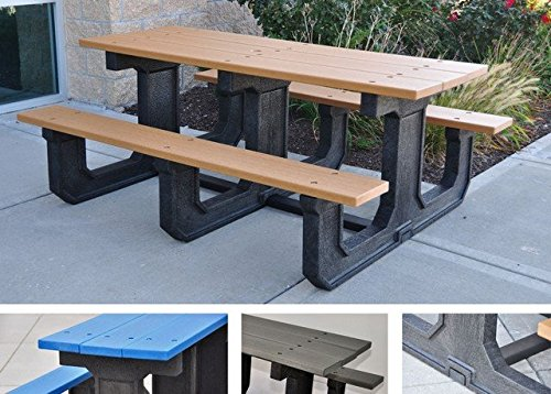 Jayhawk Plastics Park Place Recycled Plastic Picnic Table - 6'L - Gray - Gray