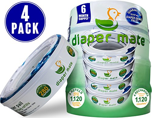 Diaper Mate Refill for Diaper Genie Diaper Pails 4 Pack - 1,120 Count - 6 Month Supply