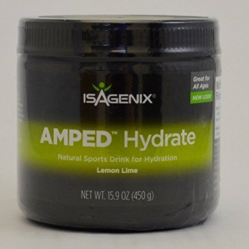 Isagenix AMPED Hydrate Natural Sports Drink Mix Lemon Lime 15.9 oz Canister
