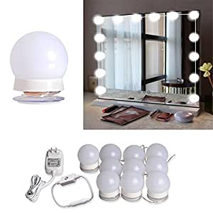 hollywood style led vanity mirror lights kit with 10 dimmable light bulbs for makeup. Black Bedroom Furniture Sets. Home Design Ideas