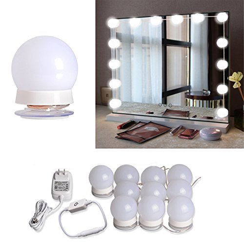 Hollywood Style LED Vanity Mirror Lights Kit with 10 Dimmable Light Bulbs For Makeup Dressing Table and Power Supply Plug in Lighting Fixture Strip, Vanity Mirror Light, White (No Mirror ()