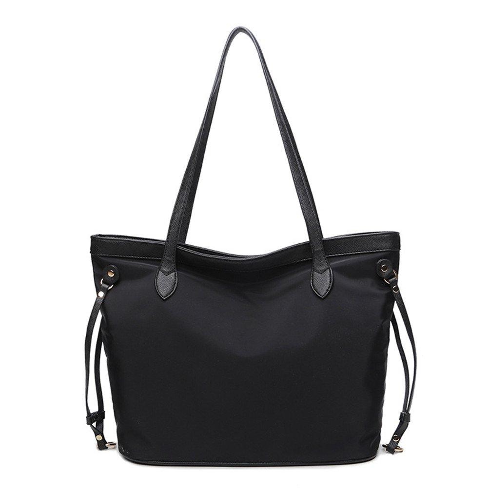e0b33cfadd5e Amazon.com  NIGEDU Elegant Leather Nylon Patchwork Women Tote Bag Casual Large  Shoulder Bag (Black)  Shoes