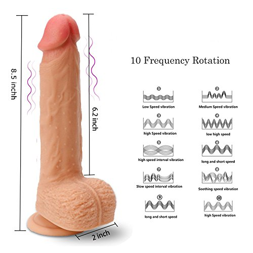 Remote Vibrating Dildo with 360 Degree Rotation,8.5 inch Double Layered Dildo Realistic Silicone Penis with Strong Suction Cup for Vaginal G-spot or Anal Play