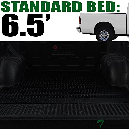 Topline Autopart Black Rubber Diamond Plate Truck Bed Floor Mat Liner For 99-16 Ford F250 / F350 / F450 Superduty 6.5 Feet (78