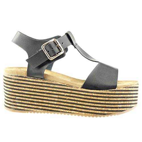 Angkorly - Zapatillas de Moda Sandalias Mules correa zapatillas de plataforma mujer corcho líneas tanga Talón Plataforma 7 CM - Negro