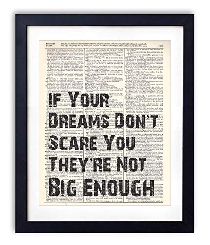 If Your Dreams Don't Scare You Typography Vintage Dictionary Art Print 8x10