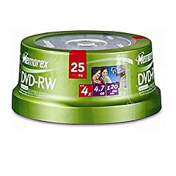 Memorex 4x Dvd+rw 25 Pack Spindle