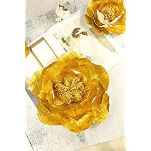 Handcrafted Flowers(Gold flower Set Of 5),Large Crepe Paper Flowers For Wedding Backdrop, Baby Nursery Home Decor, Birthday Party, Photo Backdrop,Nursery Wall,Archway Decor,Event Decorations 2