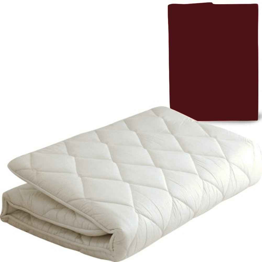 EMOOR Japanese Traditional Futon Mattress ''Classe'' with Mattress Cover (Wine), Full Size. Made in Japan