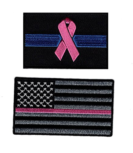 USA Flag Thin Pink Line Breast Cancer Flag Awareness Bundle 2pcs Patch