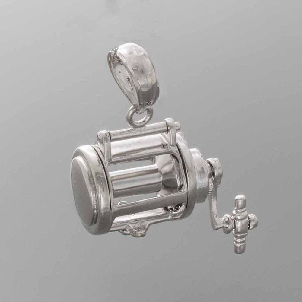 3-D Fishing Reel Moveable 925 Sterling Silver Nautical Necklace Charm Pendant with Chain