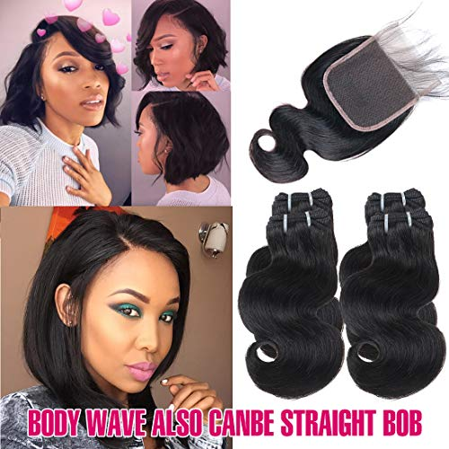 FASHION LINE Brazilian Body Wave/Water Wave/Deep Wave/Funmi/Human Hair Bundles with Lace Closure Unprocessed Human Hair Natural Black(Body Wave, 4 Bundles with 4x4 Lace Closure)