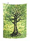 Amitus Exports TM Premium Quality 1 X Tree Of Life 80''x54''(Approx.) Inches Green Color Twin Size Cotton Fabric Tapestry Hippy Indian Mandala Throws (Handmade In India)
