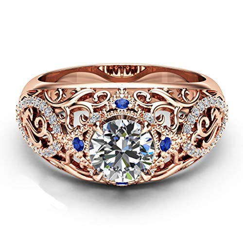 - FEDULK Womens Dazzling Natural Ruby Diamond Engagement Antique Ladies Gifts Light Luxury Rings (7, Rose Gold1)