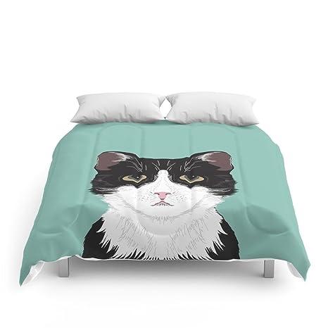 Society6 – Quinn, lindo gato blanco y negro esmoquin gato regalos para Cat Lady regalo