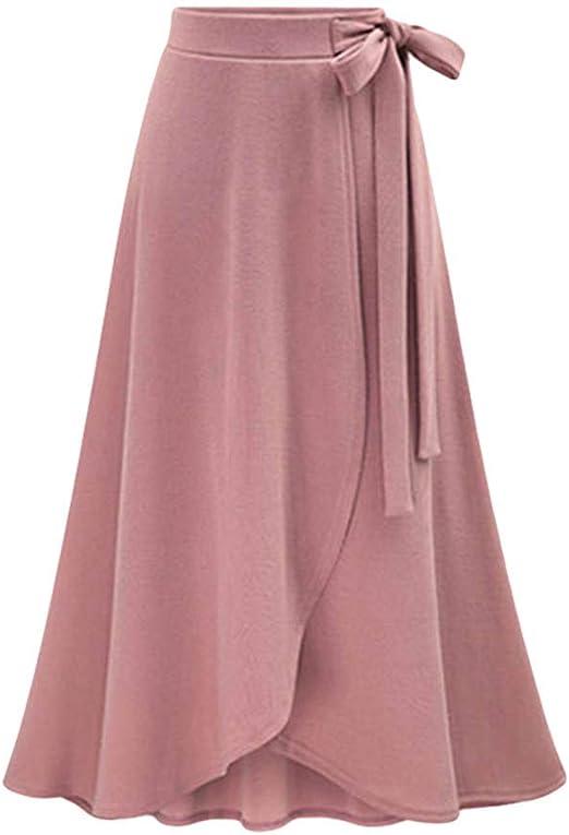 vOPRvana1n Faldas de Moda para Mujer, Elegante Color sólido de ...
