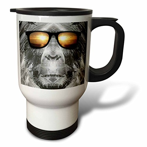 3dRose Bigfoot Wearing Sunglasses, Stainless Steel Travel Mug, 14-Oz