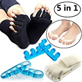 Toe Separators Set, Black White Toes Alignment Socks, Gel Toe Spacers Toe Stretchers, Instant Therapeutic Bunion Relief for Women and Men - 5 in 1