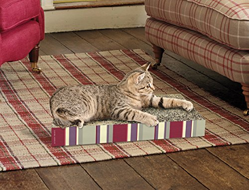 Laura Ashley Cardboard Cat Curved Scratching Pad Eaton Stripe