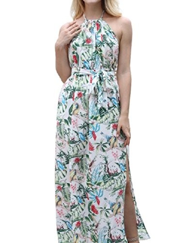 Coolred-femmes Floral Ressort Dos Nu Dos Nu Bohème Fendue Longue Robe Blanche