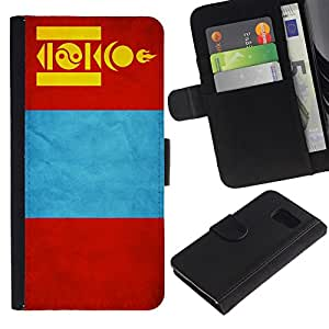 All Phone Most Case / Oferta Especial Cáscara Funda de cuero Monedero Cubierta de proteccion Caso / Wallet Case for Samsung Galaxy S6 // National Flag Nation Country Mongolia