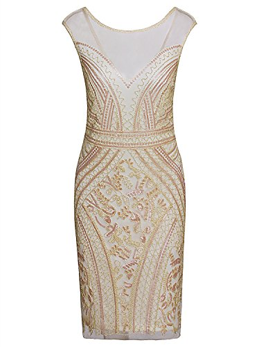 (Vijiv Flapper Dresses 1920s Gatsby Prom V Neck Cap Sleeve Beads Sequin Midi Bodycon Party Dress, Medium, Beige)