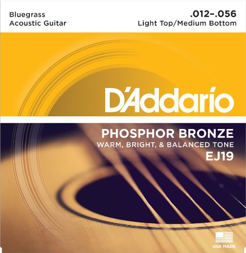 Bluegrass Guitar Strings (D'Addario EJ19 Phosphor Bronze Acoustic Guitar Strings, Bluegrass, 12-56)
