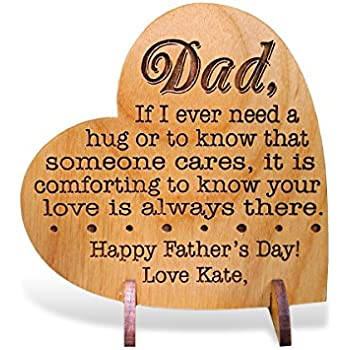 73c67097 Custom Engraved Alder Wood Greeting Card for Dad Personalized Heart Shaped  Fathers Day, Birthday, Chrismas, Thank You Unique Daddy Godfather Grandpa  Dad ...