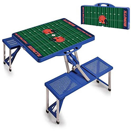NCAA University of Illinois Fighting Illini Digital Print Picnic Table Sport, Blue, One Size