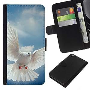 KLONGSHOP // Tirón de la caja Cartera de cuero con ranuras para tarjetas - Pájaro Paloma Alas Flying Sky Dios Esperanza - HTC DESIRE 816 //