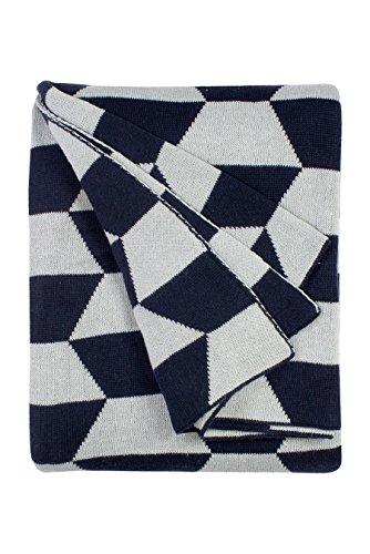 - Fab Habitat 100% Cotton Knitted Throw, Blanket - Faros, Blue - 50