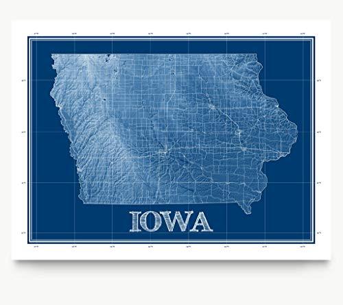 Iowa Map Print, Blueprint Wall Art Poster, IA Decor, US State Maps