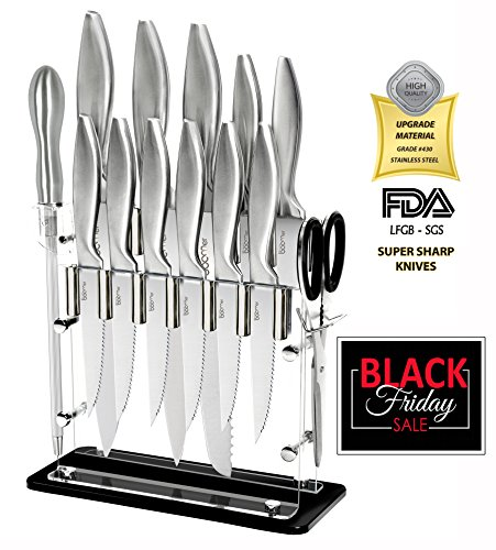 Super Sharp!!! 14 Piece Stainless Steel kitchen Knife Block Set - 8' Chef, 8' Bread, 8' Carving, 5' Utility, 3½' Paring, 4½' Steak Knives, Scissors, Sharpener & Stand - The Best Gift, By Stone boomer.