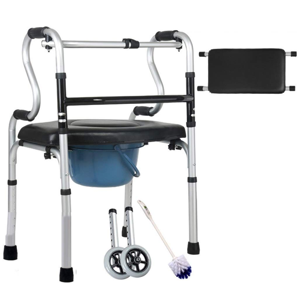 Folding Lightweight Aluminium Walking Frame with Wheels with Limited Mobility for Handrails Auxiliary Walking Safety Walker (Size : with Toilet)