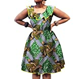 Winwinus Women's Batik African Dashiki Waist Club Plus Size Party Dress Seven L
