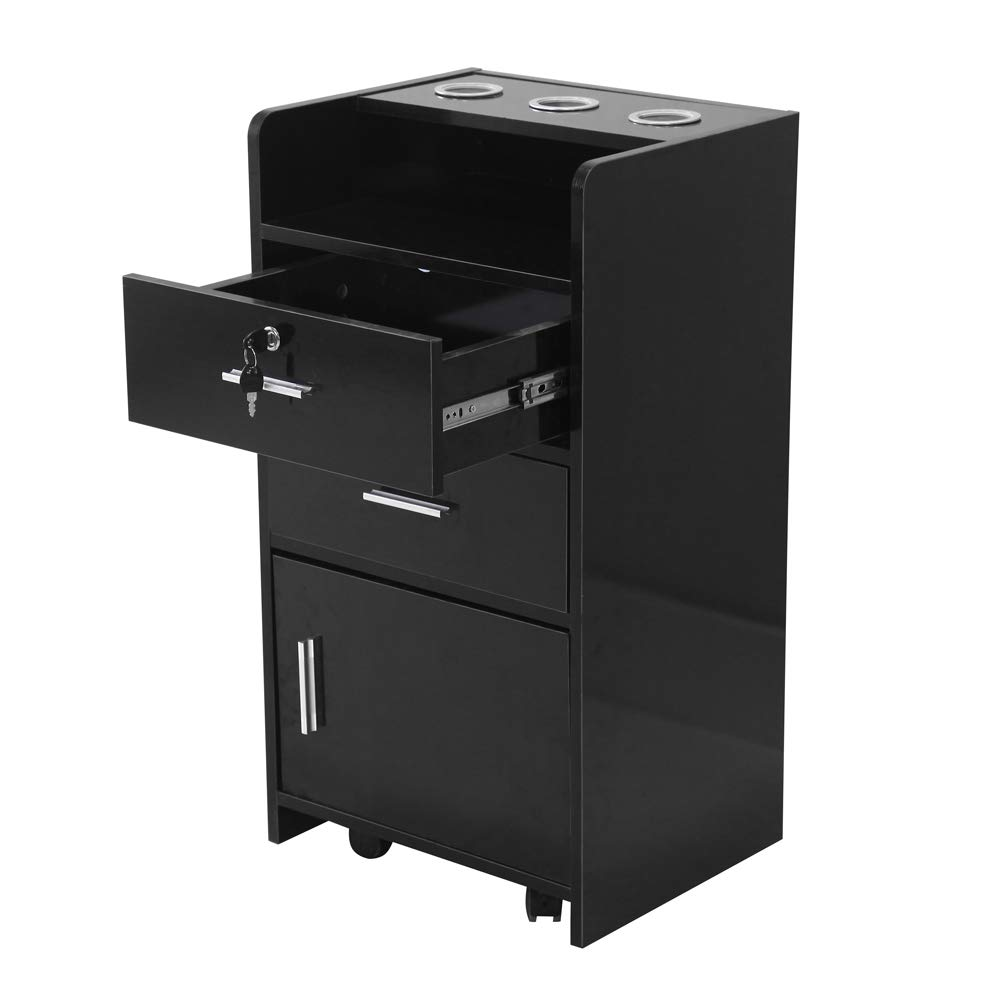 Salon Wood Rolling Drawer Cabinet Trolley Spa 3-Layer Cabinet Equipment with A Lock Black & White (Black) by hellowland (Image #4)