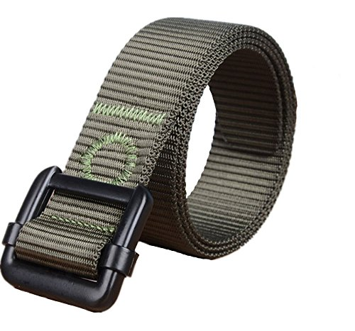 Yacn Men Tactics Duty Nylon Web Belt for Men1.57'' Wide with Military Silveryk Buckle (Green ), Medium, Green - Belts Web Clothing Accessories
