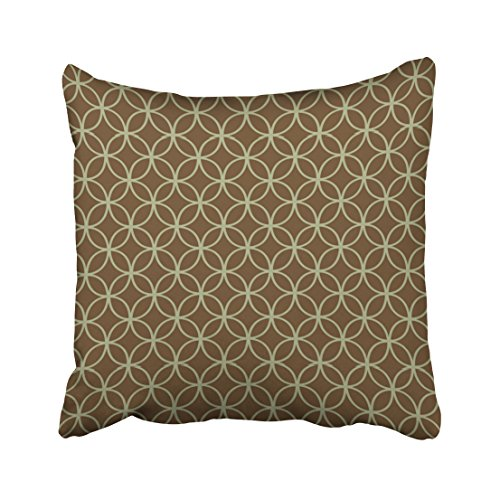 Emvency Throw Pillow Covers Modern Sage Green On Chocolate Brown Circles Pillowcases Polyester 18 X 18 Inch Square With Hidden Zipper Home Sofa Cushion Decorative Pillowcase (Green Circles Pillow)
