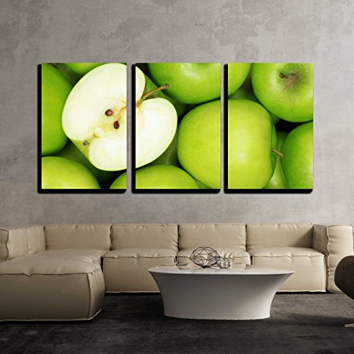 wall26-3 Piece Canvas Wall Art - Group of Green Apples Forming a Background - Modern Home Decor Stretched and Framed Ready to Hang - 16