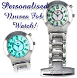 Personalised Engraved Silver Plated Nurses Carers Backlight Fob Watch