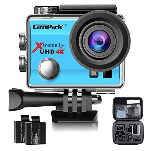 Campark ACT74 Action Camera 4K WiFi Waterproof Sports Camera 170° Ultra Wide-Angle Len with 2 Pcs Rechargeable Batteries and Portable Package(Blue)