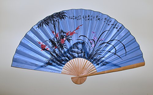 Large 60 X 35 Folding Wall Fan Art Blue Fan with Cherry Blossom & Orchid Flowers Prosperity Hand Painted